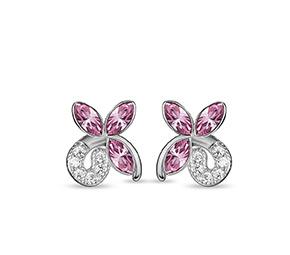 ピンクのクリスタルの蝶のイヤリング
